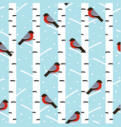 Winter seamless pattern with bullfinches vector
