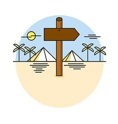 Wooden sign shaped like an arrow on desert path ve vector