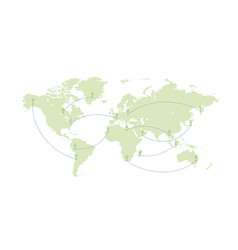 World map and paths planes vector
