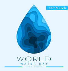 world water day in paper cut stile abstract vector image