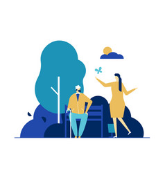 Young woman and old man on outdoor stroll flat vector
