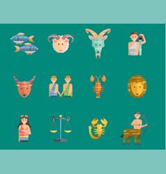 zodiac signs flat set horoscope symbols star vector image