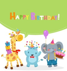 Animal Birthday Card vector image