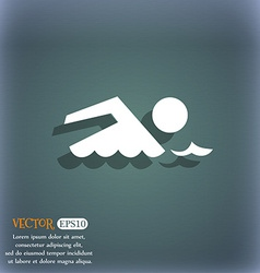 Swimming sign icon Pool swim symbol Sea wave On vector image