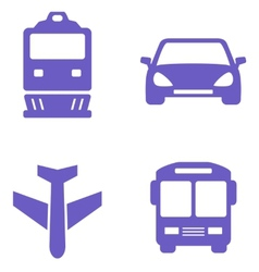 transport icon set with train plane car and bus vector image vector image