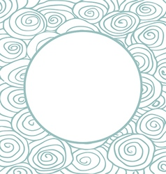 Waves hand drawn pattern curled frame circle vector image vector image