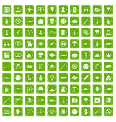 100 oppression icons set grunge green vector image vector image