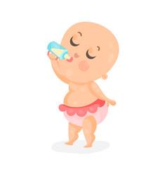 adorable cartoon baby girl drinking milk in a vector image