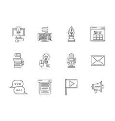 blogging flat line icons set vector image