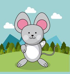 cute mouse adorable landscape natural vector image