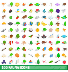 100 fauna icons set isometric 3d style vector image vector image