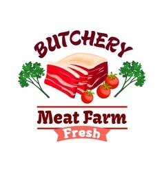 Bacon or pork meat label for butcher shop design vector image