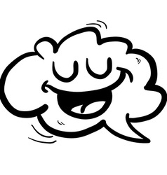 black and white happy freehand drawn cartoon cloud vector image
