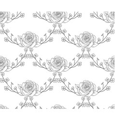 black seamless pattern with drawn flowers vector image vector image