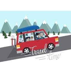 Family winter traveling Mountain outdoor tourism vector image