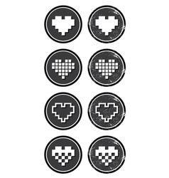 Love pixelated hearts retro labels set - vector image vector image