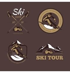 Nordic skiing emblems labels badges vector image
