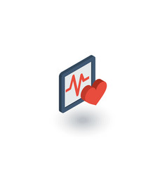 pulse ecg cardiogram isometric flat icon 3d vector image vector image