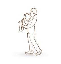 Saxophonist player a man play saxophone vector