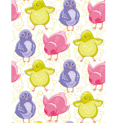seamless pattern with funny purple pink and green vector image