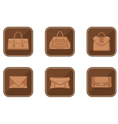 Set of fashion icons with bags vector image vector image