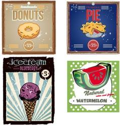 vintage food poster set vector image vector image
