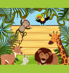 wooden board template with wild animals vector image