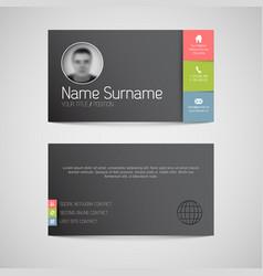 Modern dark business card template with flat user vector