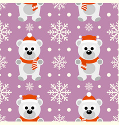 new year seamless background with funny polar bear vector image