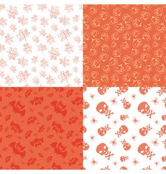 Set of 4 halloween seamless backgrounds vector image