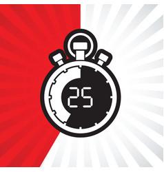 stopwatch twenty five minute vector image vector image