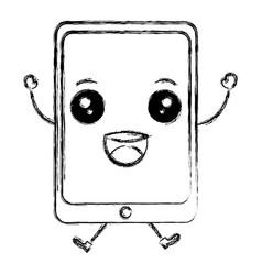 tablet device kawaii character vector image