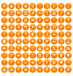 100 crown icons set orange vector