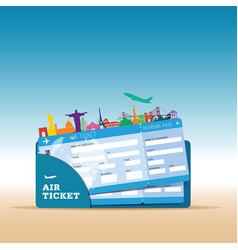 air ticket travel with icon vector image