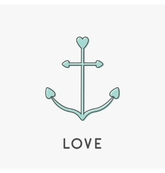 Anchor ship thin line icon in shapes of heart vector