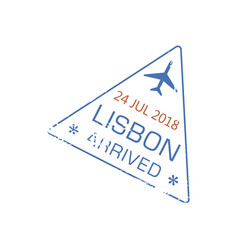 arrival visa stamp to lisbon airport isolated sign vector image