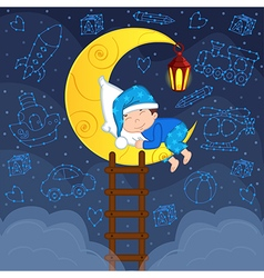 baby boy sleeping on moon among stars vector image