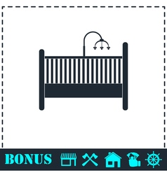Baby crib icon flat vector
