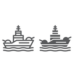 Battleship line and glyph icon navy and army vector