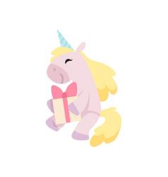 beautiful unicorn sitting and holding gift box vector image