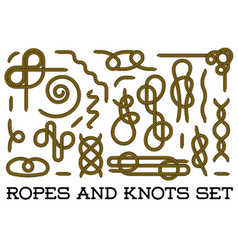 big set of nautical rope knots decorative vintage vector image