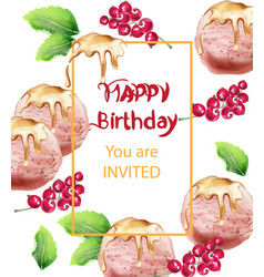 birthday card with ice cream watercolor sweet vector image