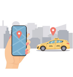 booking online taxi hand vector image