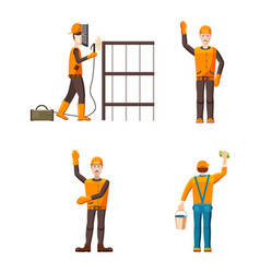 Builder icon set cartoon style vector