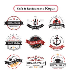 Cafe and restaurant logos vintage design vector