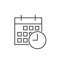 Calendar with clock icon vector