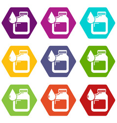 canister engine oil icons set 9 vector image