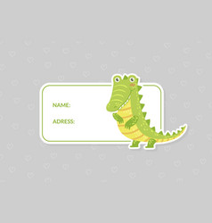 Card templates with cute crocodile animal name vector