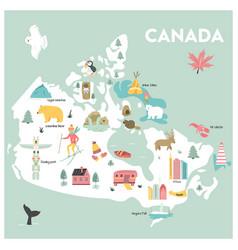 cartoon map canada vector image
