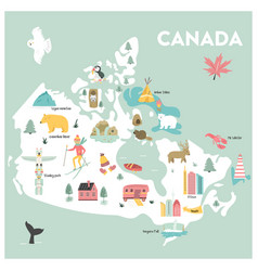 Cartoon map of canada vector